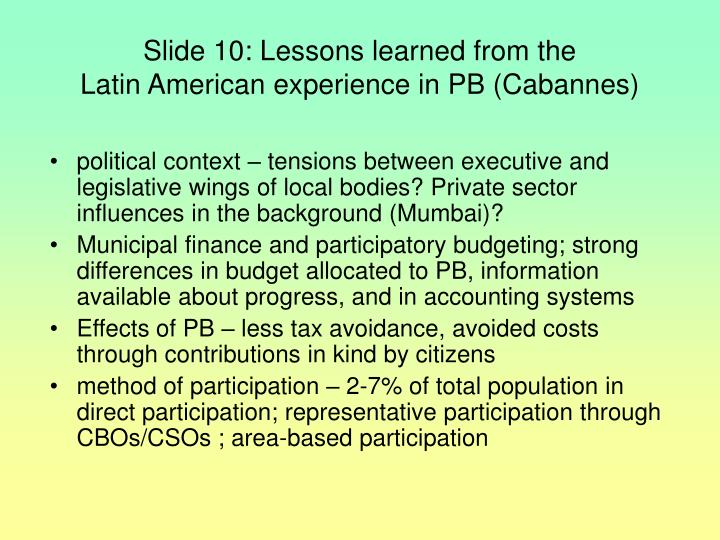 Slide 10: Lessons learned from the