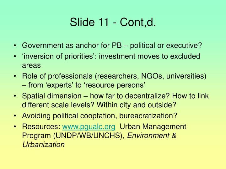 Slide 11 - Cont,d.