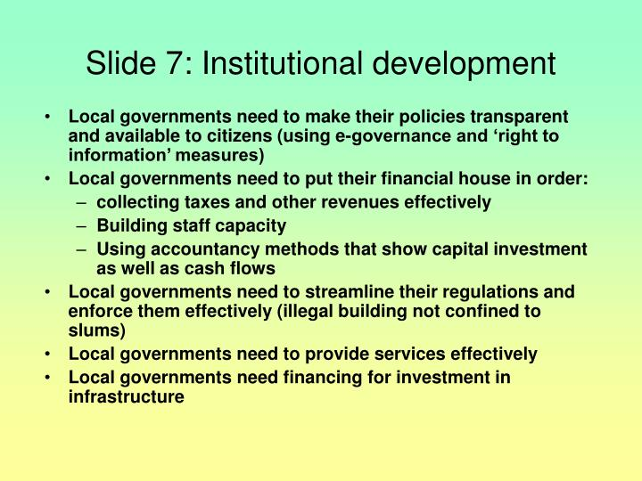 Slide 7: Institutional development
