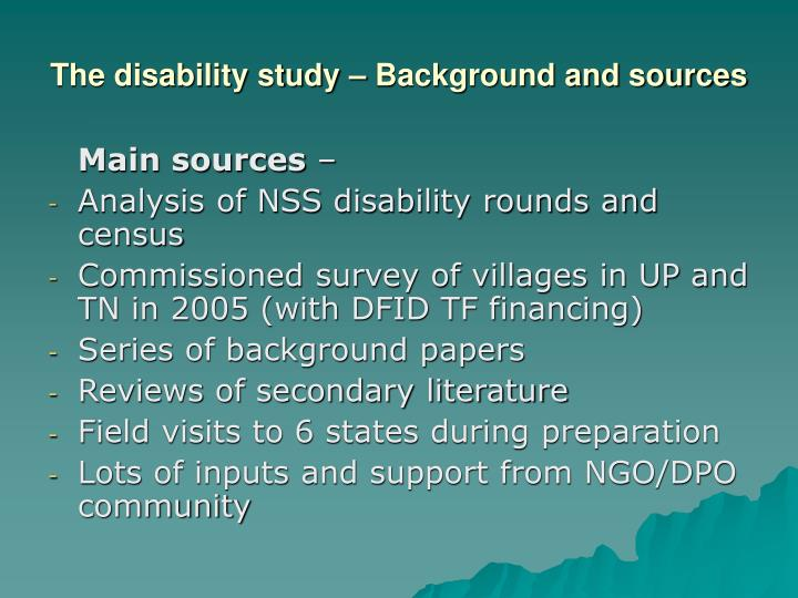 The disability study – Background and sources