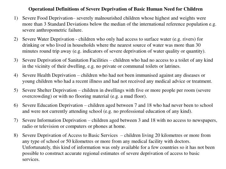 Operational Definitions of Severe Deprivation of Basic Human Need for Children