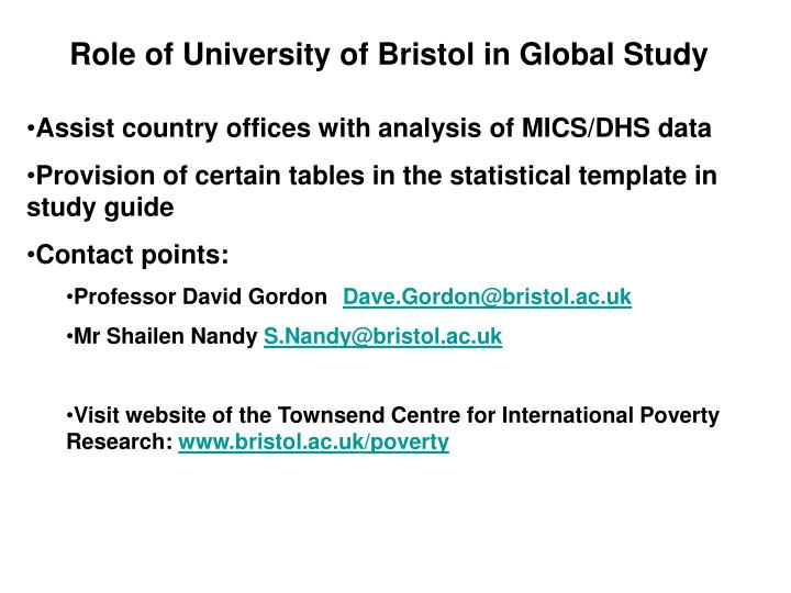 Role of University of Bristol in Global Study