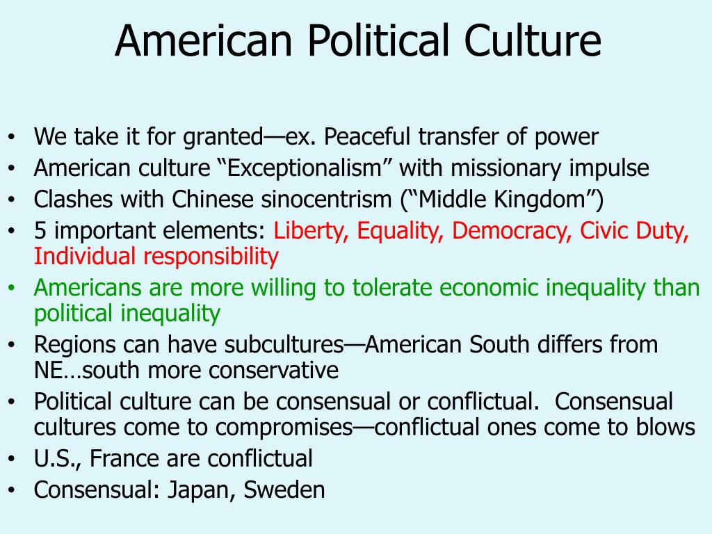 american political culture The american political culture is a system of shared political traditions, customs,  beliefs and values this lesson discusses the characteristics.