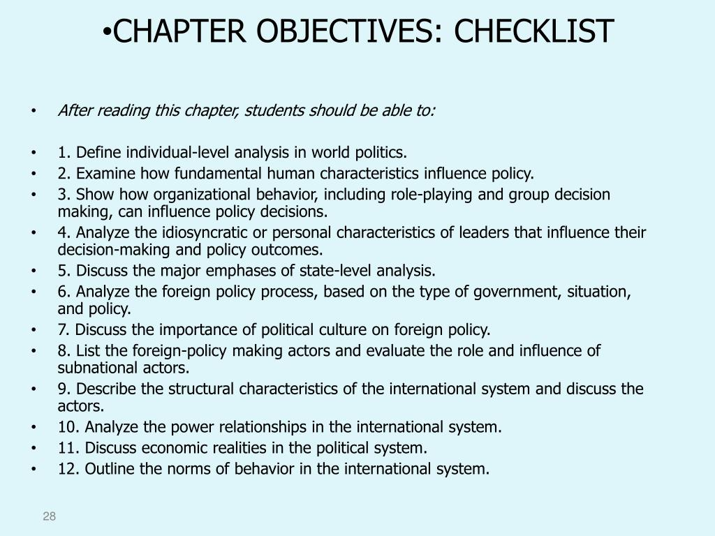 CHAPTER OBJECTIVES: CHECKLIST