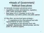 heads of government political executives
