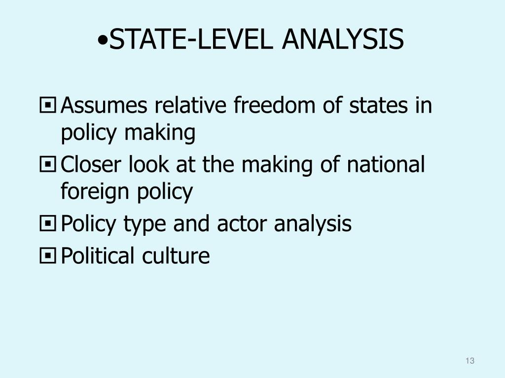 STATE-LEVEL ANALYSIS