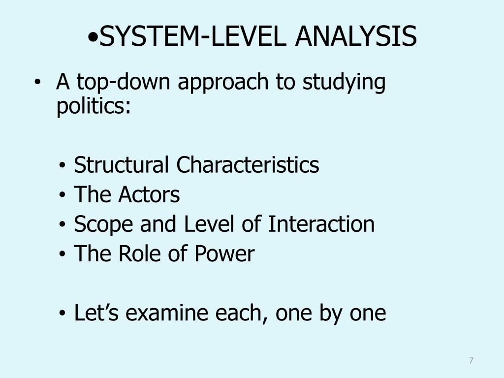 SYSTEM-LEVEL ANALYSIS