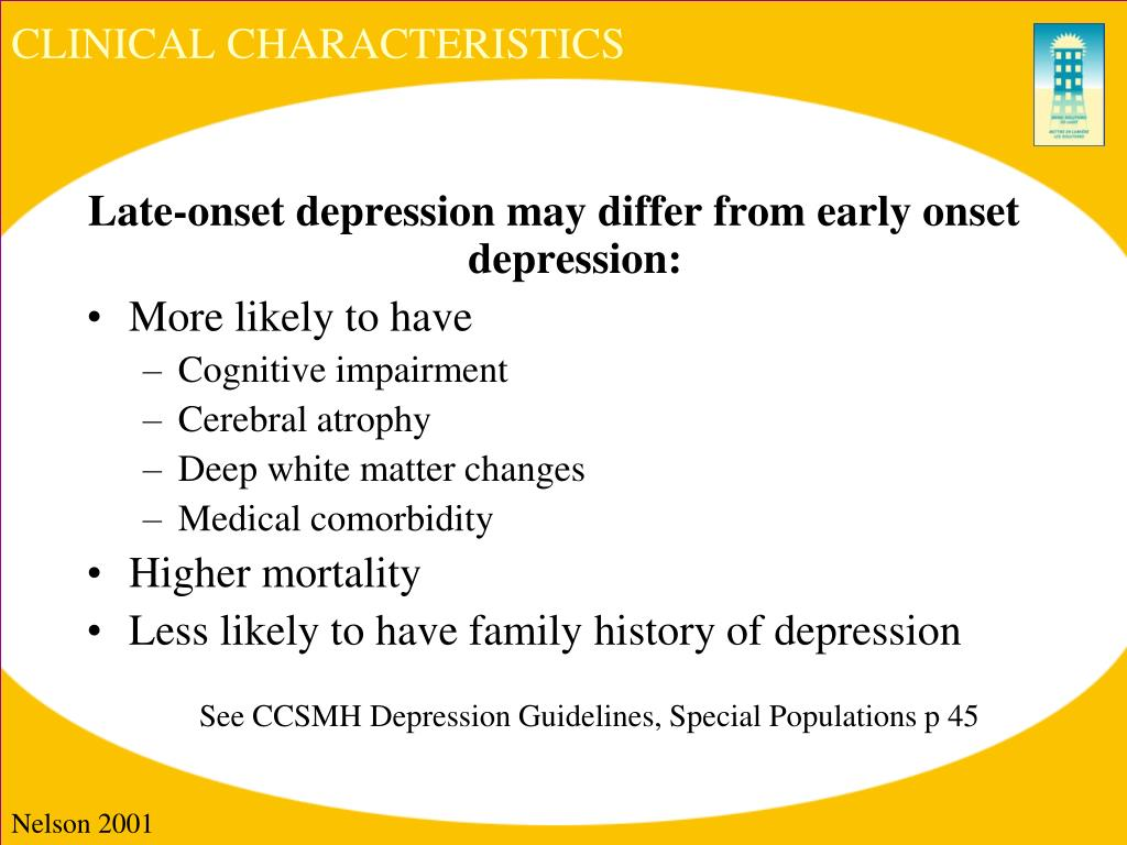 outline of the clinical characteristics of depression Outline the clinical characteristics of depression (5 marks) to be diagnosed with depression, a person must display a persistent low mood for at least two weeks, and five other symptoms including sleep disturbance, weight gain or loss, loss of energy, loss of interest in pleasure activities, difficulty in making decisions, excessive guilt for real or imagined deeds, and thoughts of or specific.