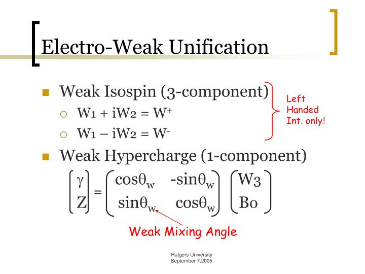 Electro-Weak Unification