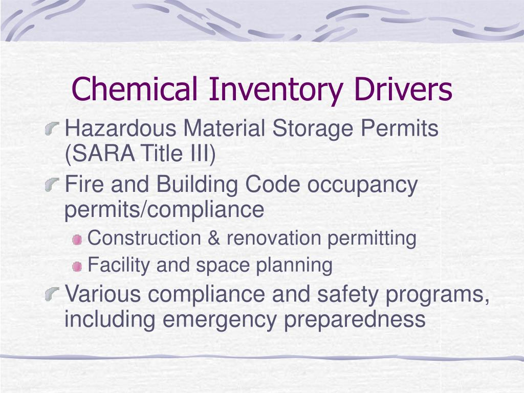 Chemical Inventory Drivers