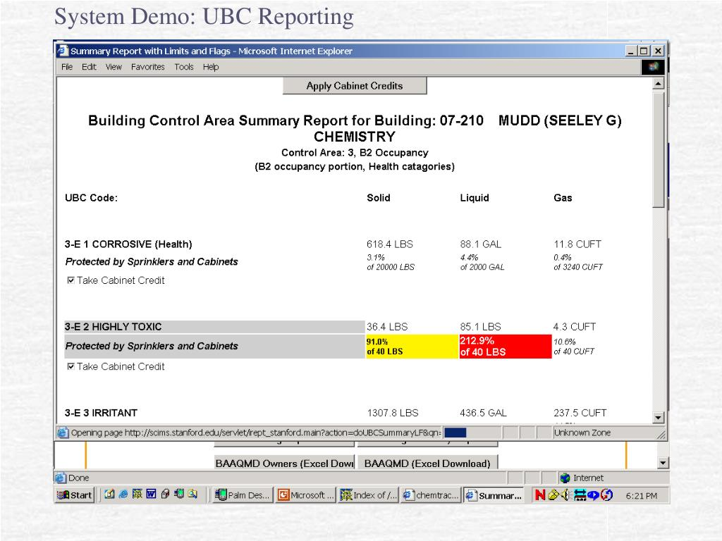 System Demo: UBC Reporting