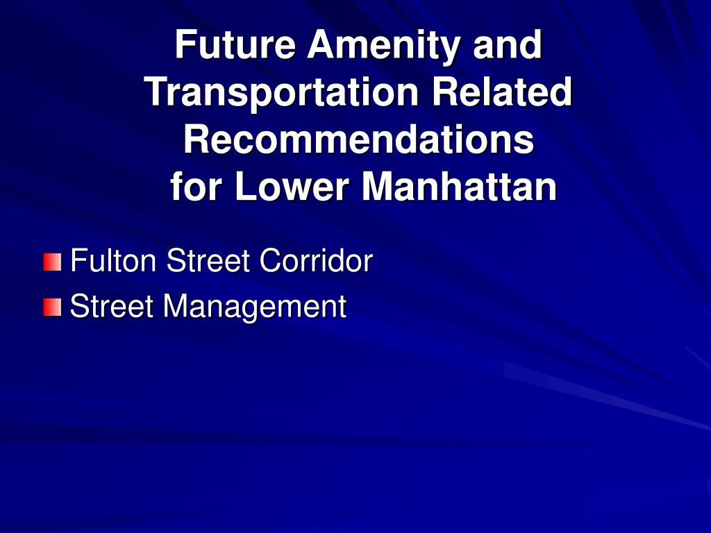 Future Amenity and Transportation Related Recommendations