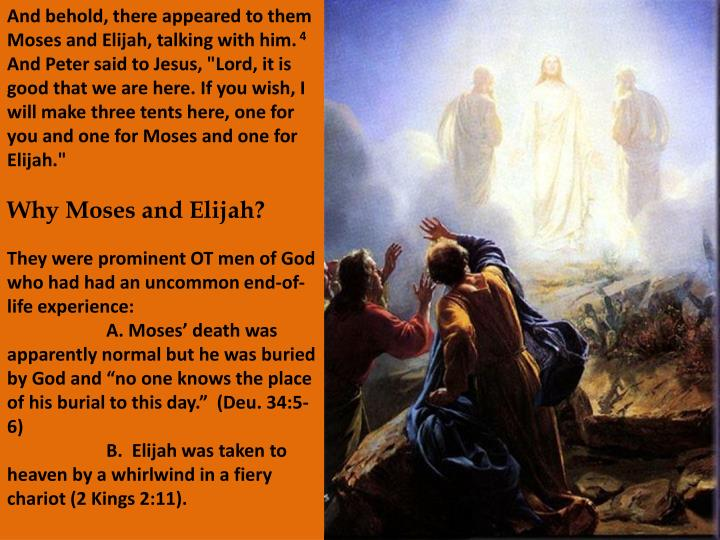And behold, there appeared to them Moses and Elijah, talking with him.