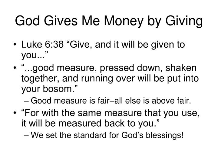 God Gives Me Money by Giving