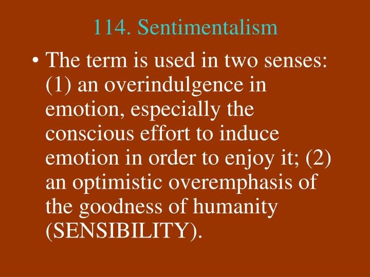 114. Sentimentalism