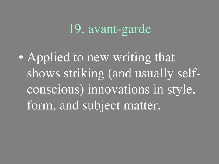 19. avant-garde