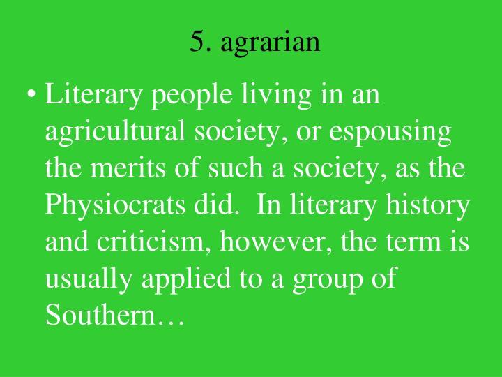 5. agrarian