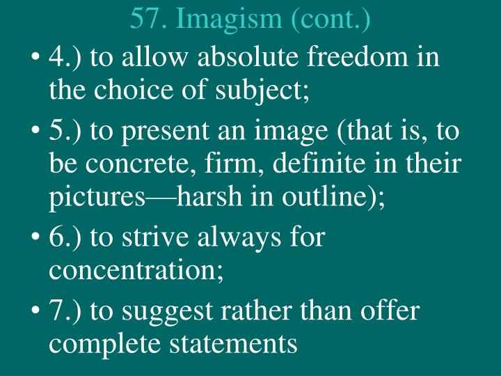 57. Imagism (cont.)