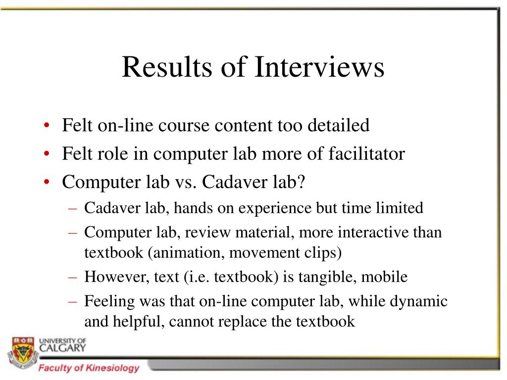 Results of Interviews