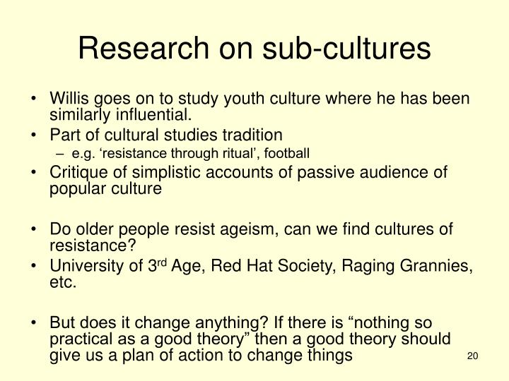 Research on sub-cultures