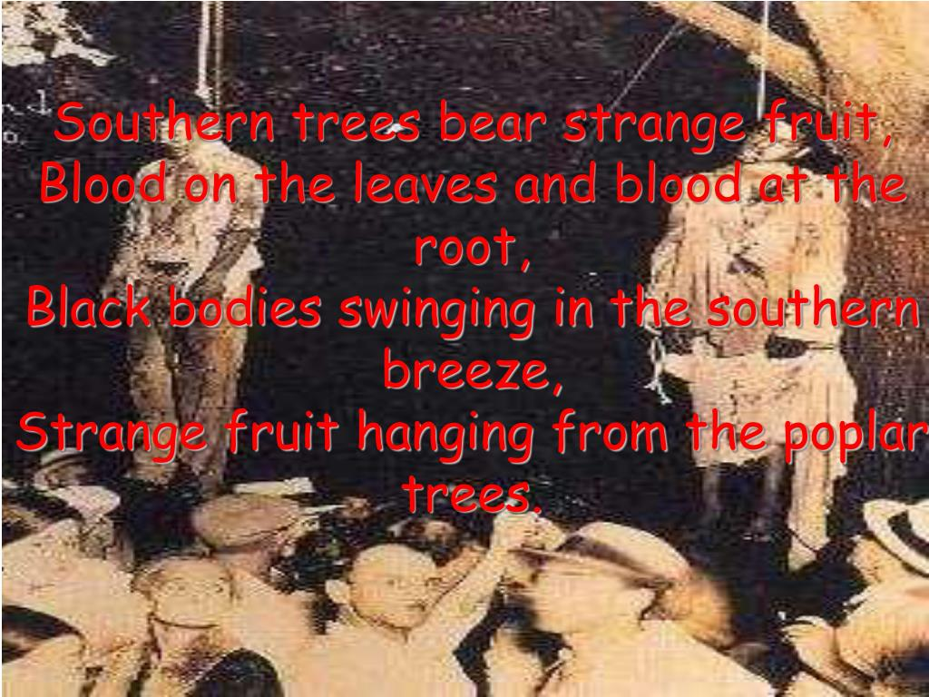 Southern trees bear strange fruit,