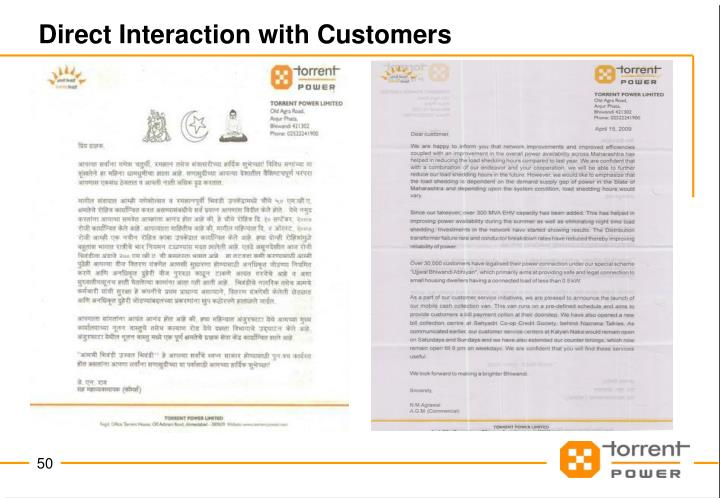 Direct Interaction with Customers