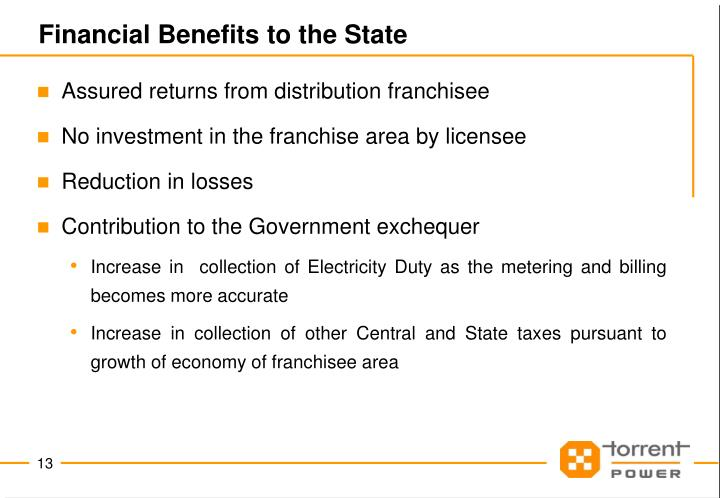 Financial Benefits to the State