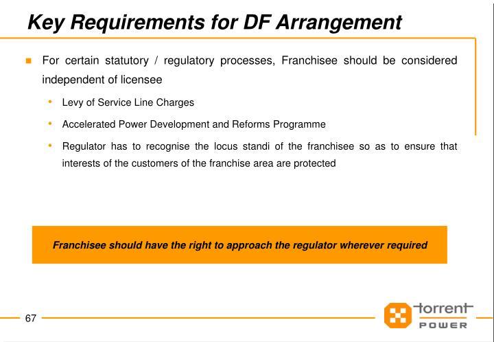 Key Requirements for DF Arrangement