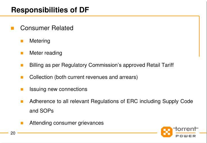 Responsibilities of DF
