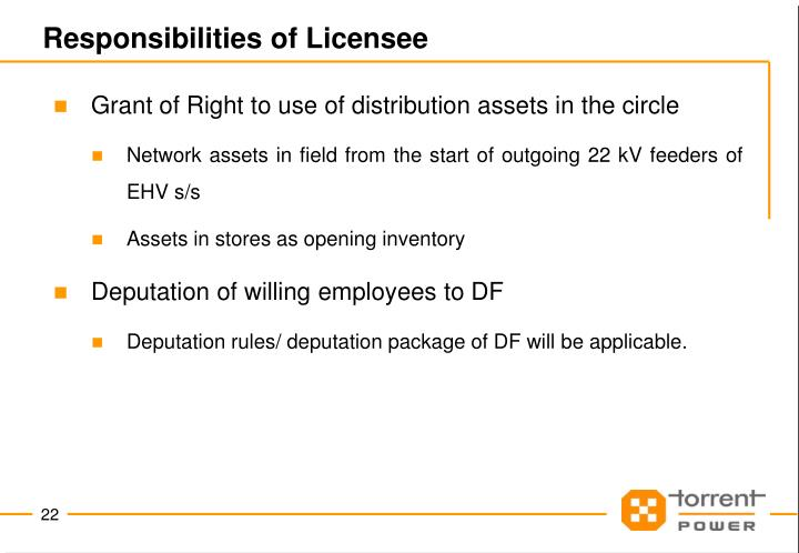 Responsibilities of Licensee