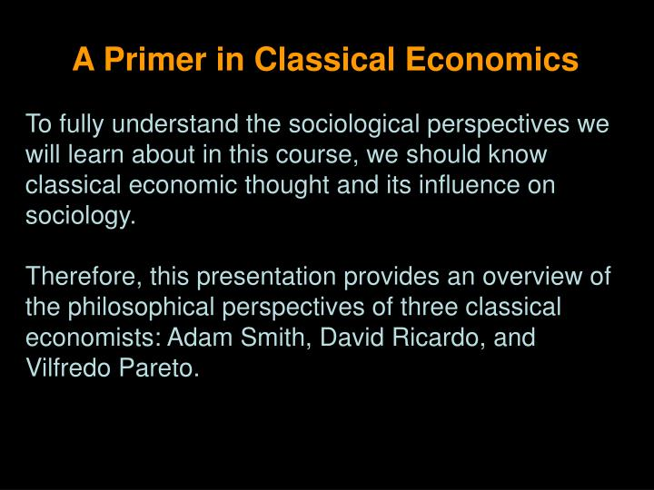 A Primer in Classical Economics