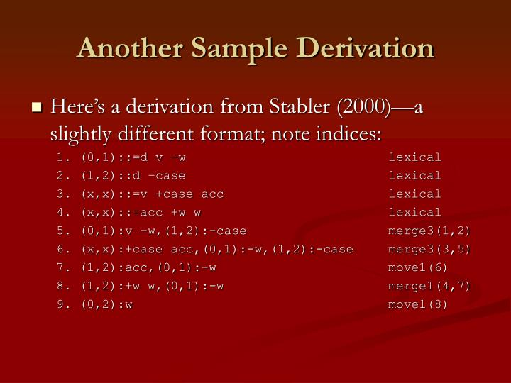 Another Sample Derivation