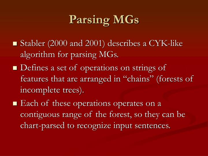 Parsing MGs