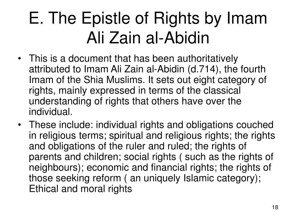 E. The Epistle of Rights by Imam Ali Zain al-Abidin