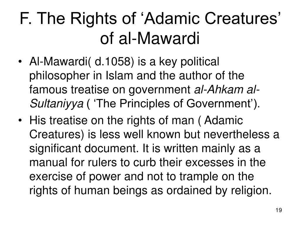 F. The Rights of 'Adamic Creatures' of al-Mawardi