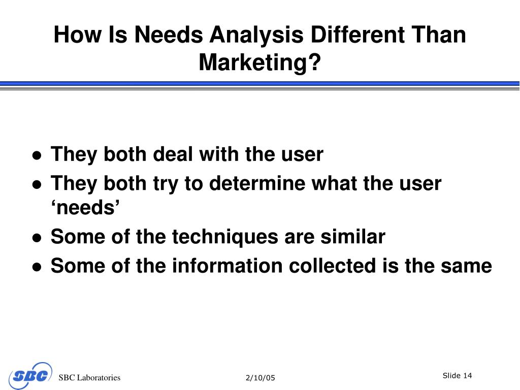 How Is Needs Analysis Different Than Marketing?