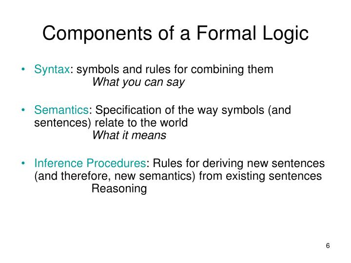 Components of a Formal Logic