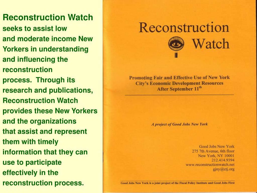 Reconstruction Watch