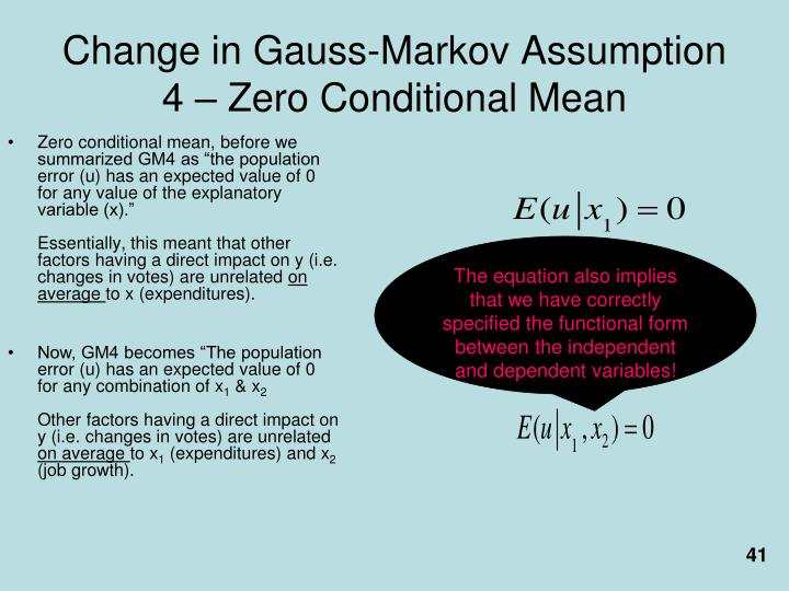 Change in Gauss-Markov Assumption 4 – Zero Conditional Mean