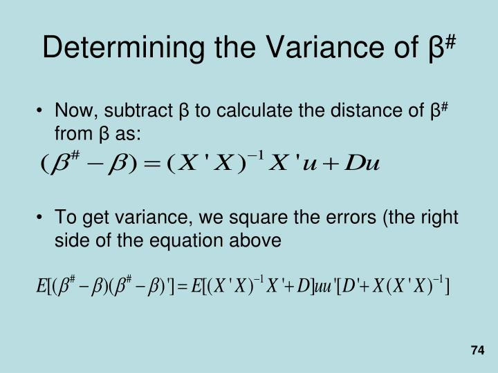 Determining the Variance of