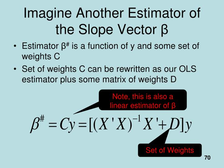 Imagine Another Estimator of the Slope Vector