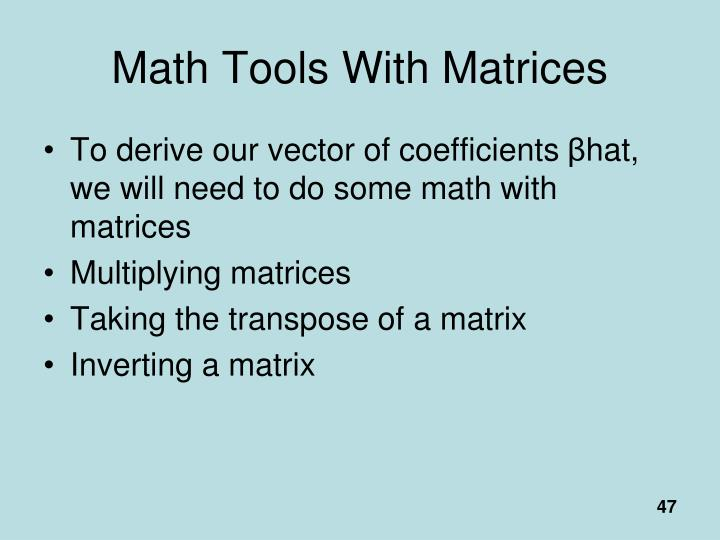 Math Tools With Matrices