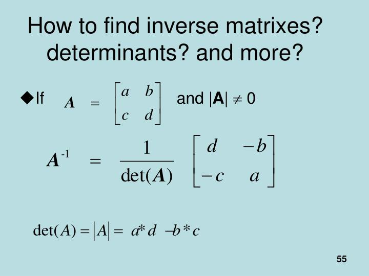 How to find inverse matrixes? determinants? and more?
