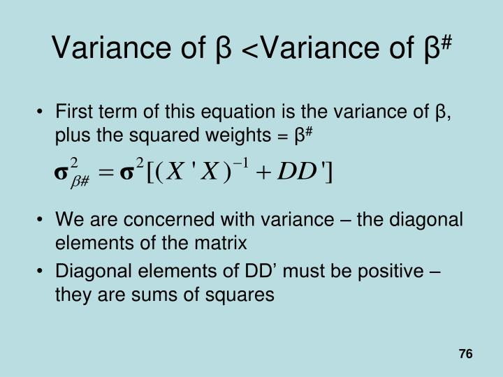 Variance of