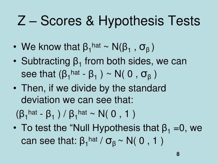 Z – Scores & Hypothesis Tests