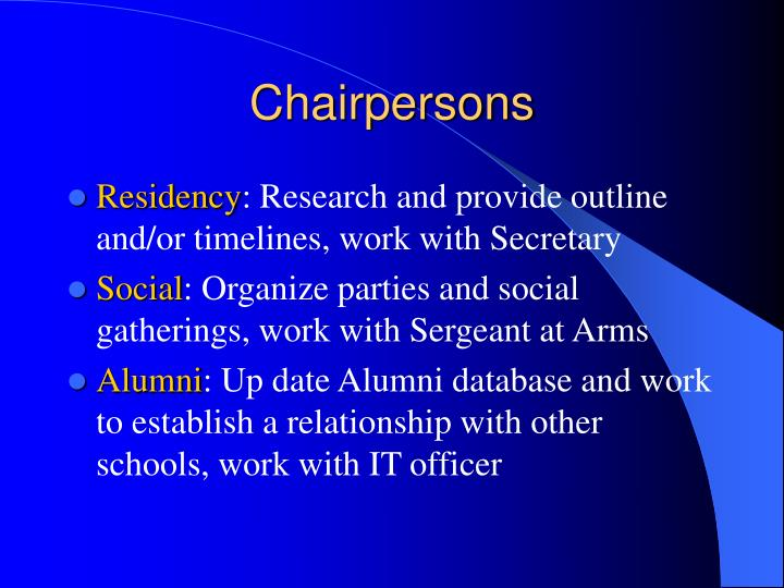 Chairpersons