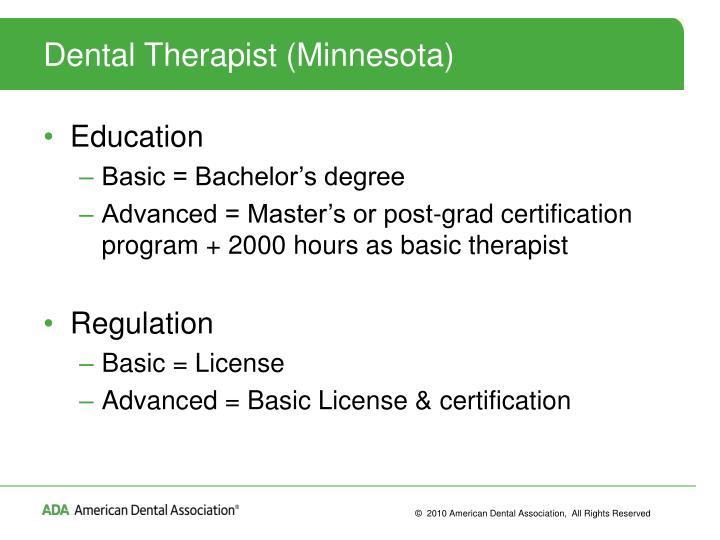 Dental Therapist (Minnesota)