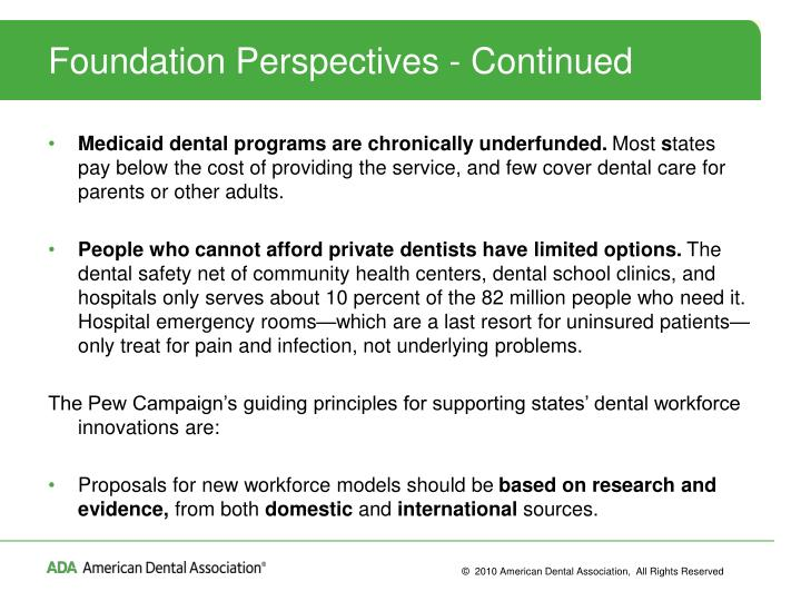 Foundation Perspectives - Continued