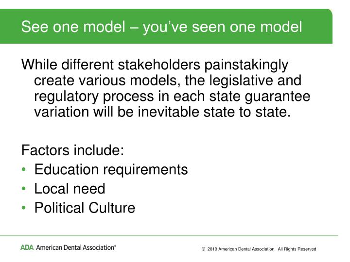 See one model – you've seen one model