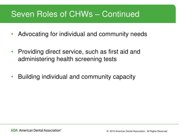 Seven Roles of CHWs – Continued